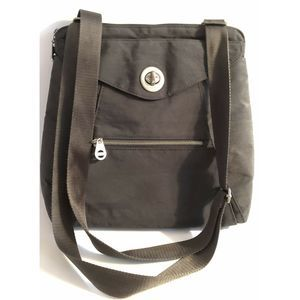 Baggallini Large Crossbody Bag Tote Gray Canvas